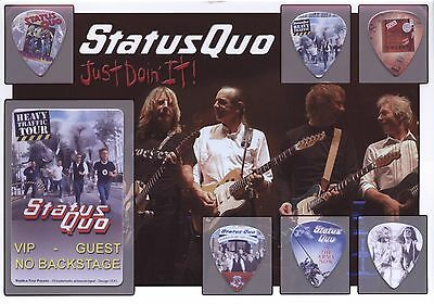Status Quo (3) guitar picks on photo display LIMITED
