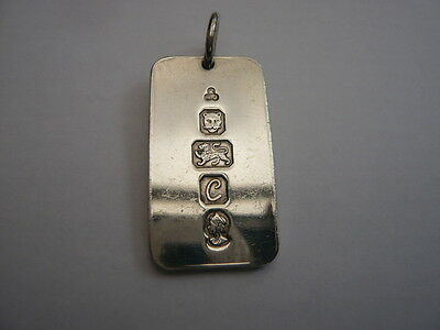 Vintage 1970,s 925 Sterling Silver Identity Dog Tag Ingot Pendant 16 Grams