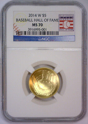 2014 W $5 Gold Baseball Hall of Fame Commemorative w/Card  NGC MS70 MS 70   #001