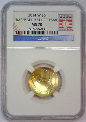 2014 W $5 Gold Baseball Hall of Fame Commemorative w/Card  NGC MS70 MS 70   #008