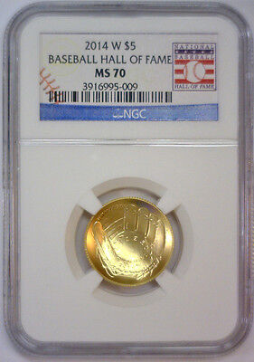 2014 W $5 Gold Baseball Hall of Fame Commemorative w/Card  NGC MS70 MS 70   #009