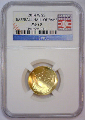 2014 W $5 Gold Baseball Hall of Fame Commemorative w/Card  NGC MS70 MS 70   #011