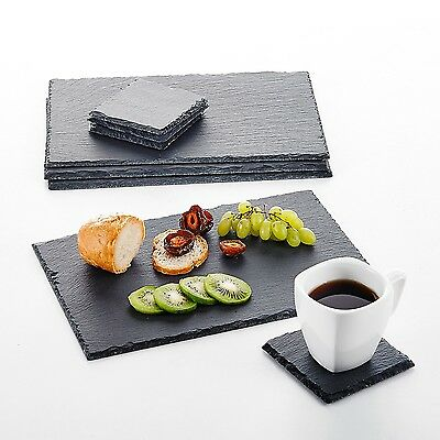 8-Piece Natural Slate Stone Rectangle Placemats Coasters Hand Made Tablemat Mats