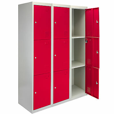 3 x Metal Lockers 3 Doors Steel Staff Storage Lockable Gym School Red - 45cm D