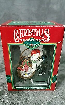 VTG.Christmas Traditions Collectible Ornament Mouse on pocket Watch