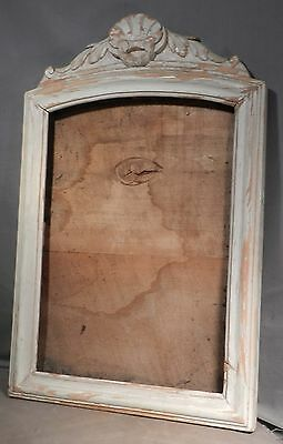 Antique Country French Chalky White Carved Wood Picture Frame Mirror Provincial