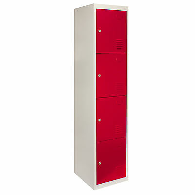 Steel Lockers 4 Doors Metal Staff Storage Lockable Gym Changing Room School Red