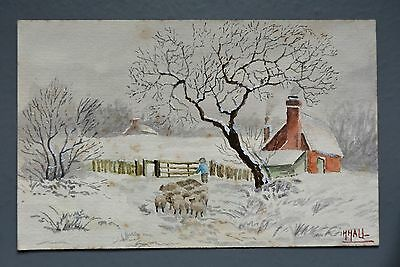 R&L Postcard: Hand Painted One-Off by H. Hall, Winter Snow Rural Scene, Sheep