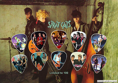 Stray Cats guitar picks on photo display LIMITED !