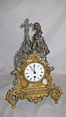 Antique 19th c French ORNATE bronze figural mantle clock by Rollin A.Paris