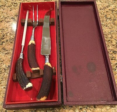 Vintage Sheffield stag horn, 3-piece stainless steel, meat carving set (1950's).