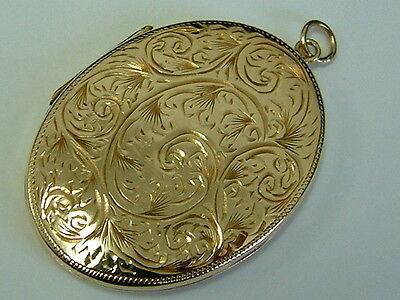 Vintage 1960's 9Ct Back And Front Large Oval Engraved Locket Pendant