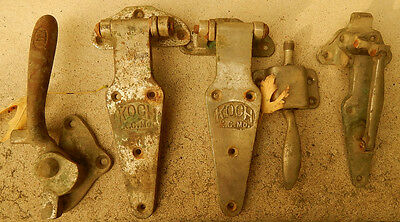 Old Pair Koch KC MO Ice Box or Butchershop Cabinet Hinges & Handle Latch 5 pc