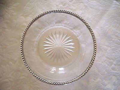 """Antique Watson Crystal Solid Sterling Silver Rim ~ 5.75"""" Bread & Butter Plate"""