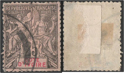 Ivory Coast. 1892 Navigation and Commerce. 25c. Cancelled. Spacefiller?