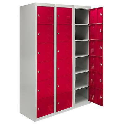 Steel Lockers 6 Doors Lockable Metal Storage Staff Gym Changing Room School Red