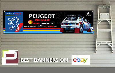Peugeot 205 Turbo 16 Garage Banner for Workshop, Garage, Retro, T16 Rally Team