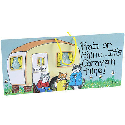 RAIN OR SHINE... IT'S CARAVAN TIME! PVC Hanging Sign Cats Holiday Plaque Gift