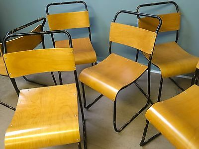Vintage Tubular Metal and Plywood Industrial Stacking Chairs