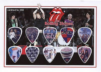 The Rolling Stones (4) guitar picks on photo display LIMITED