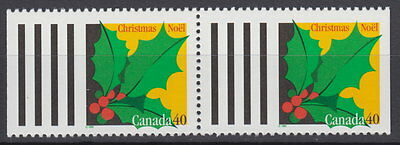 Canada #1588 40¢ Christmas Holly Pair from Booklet MNH
