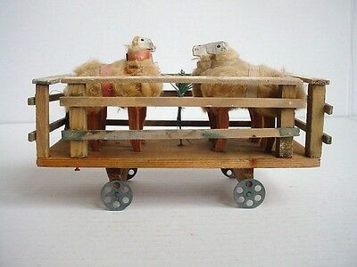 Antique German Wooly Sheep in Pen on Wheels Christmas Pull Toy