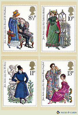1975 Jane Austen PHQ 13 - Mint PHQ Cards - Set of 4 Royal Mail Post Cards