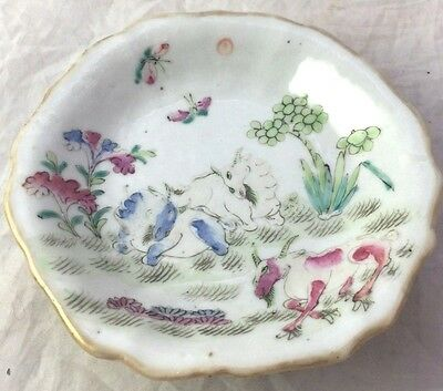 19th Century Antique Chinese Signed Compote, Plate Fighting Rams, Floral RARE