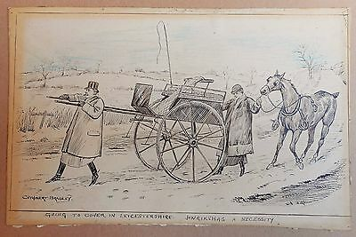 Cuthbert Bradley, original Ink drawing c.1900. Going to cover in Leicestershire