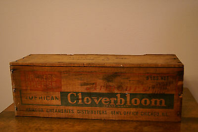 VINTAGE! ARMOUR CREAMERIES WOOD CLOVERBLOOM COLORED AMERICAN CHEESE BOX 5lbs