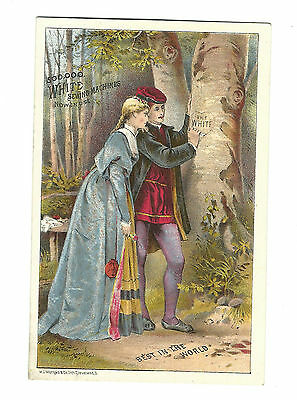 Old Trade Card White Sewing Machines Couple Writing On Tree Opera House Danbury