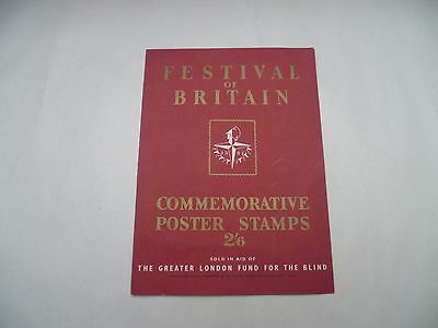 FESTIVAL OF BRITAIN 1951 COMMEMORATIVE  BOOKLET With stamps, 1951, scarce