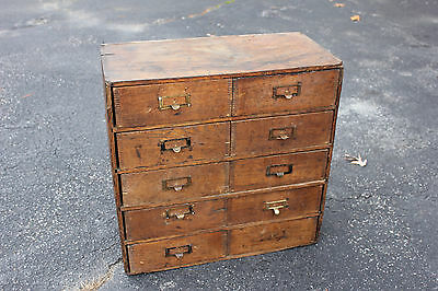 Antique Wooden Dovetail 10 Drawer Storage Cabinet 24x24x11 Wood Cabinet Filing d