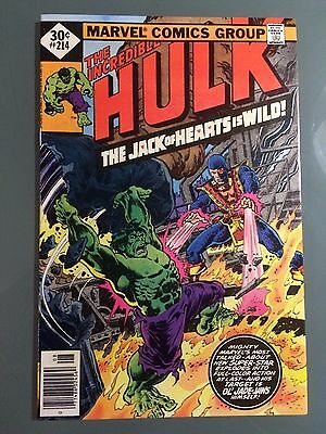 "INCREDIBLE HULK #214, Marvel 1977, 9.0 VF/NM  ""THE JACK OF HEARTS IS WILD!"""