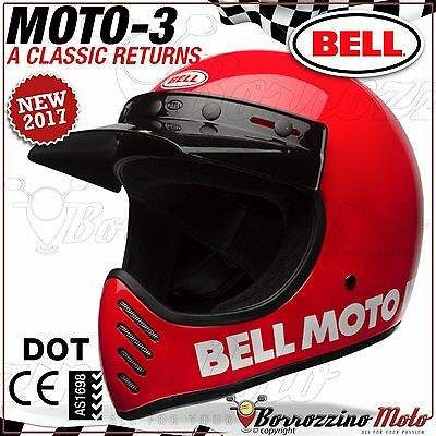 Casco Vintage Offroad Cross Enduro Bell Moto-3 Classic Red Rosso Lucido M