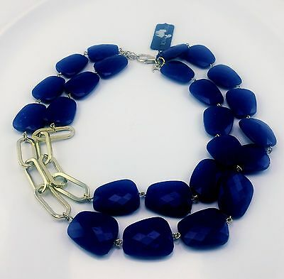Vintage Signed Designer Towne Reese 2 Strand Deep Blue Bead Necklace Gold W Tags