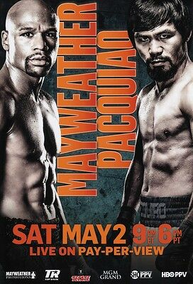 FLOYD MAYWEATHER MANNY PACQUIAO BOXING FIGHT POSTER UNSIGNED 12x8 INCH PHOTO