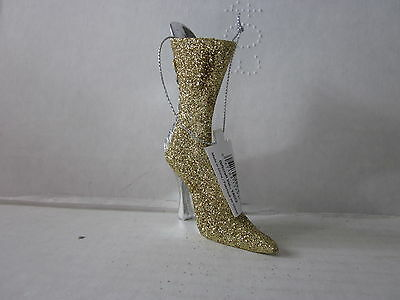 Gold Victorian Glittery Boot Ornaments by GiftCraft Lace Up Sparkly Festive