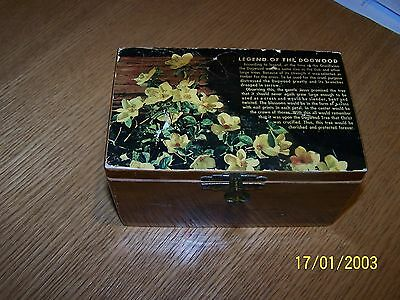 "Vintage Hinged Wooded Trinket Box ""legend Of The Dogwood"" On Lid 6X3X3 Cedar Box"