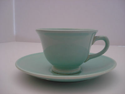 T.S.&T. LuRay Green Cup and Saucer