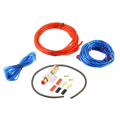800W 8GA Car Audio Subwoofer Amplifier AMP Wiring Fuse Holder Wire Cable Kit JK