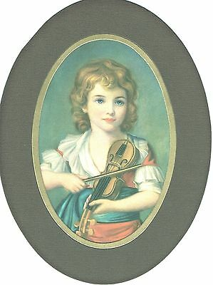 """Girl with a Violin"" - Vintage Fine Art - After Élisabeth Vigée Le Brun"