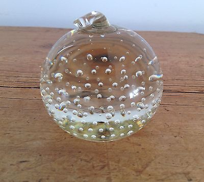 WHITEFRIARS controlled bubble clear APPLE paperweight