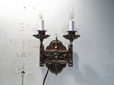 Antique Vintage Wall Sconce 2 Light Fixture Fleur Di Lis