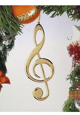 """Gold-Color TREBLE CLEF Christmas Ornament, 5"""" Tall, by Broadway Gifts"""