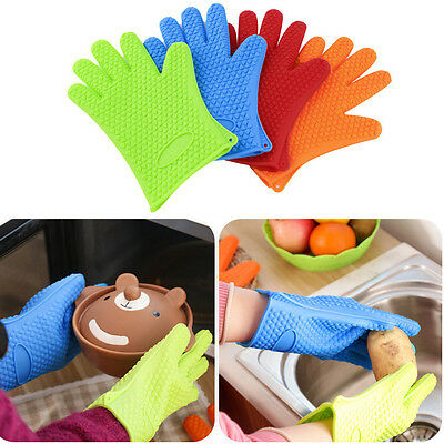 Kitchen Heat Resistant Silicone Glove Oven Pot Holder BBQ Cooking Mitts JK