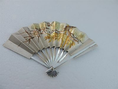 Exquisite H-Chased Vintage Signed Japanese Sterling Silver Miniature Fan Japan