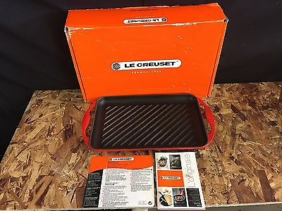 """LE CREUSET 12"""" RECTANGLE CAST IRON GRIDDLE - RED - USED w/ BOX"""
