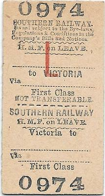 Southern Railway ticket : Victoria - HMF on leave
