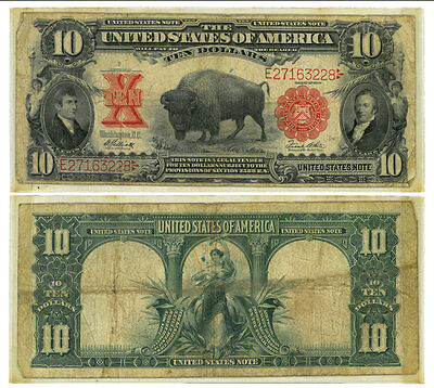 1901 $10 Bison Legal Tender Note VG SKU44134